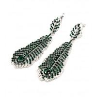 Серьги перья зеленые 603-01