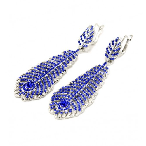 Серьги перья синие 603-03