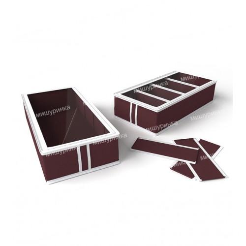 Короб для обуви, на 4 ячейки (перегородки съемные на липучке) 26х52х12 см. 1634