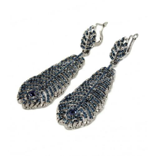 Серьги перья темно-синие 603-04