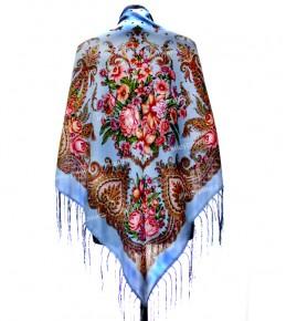 Платок с цветами 120x120 см. СЦ-3